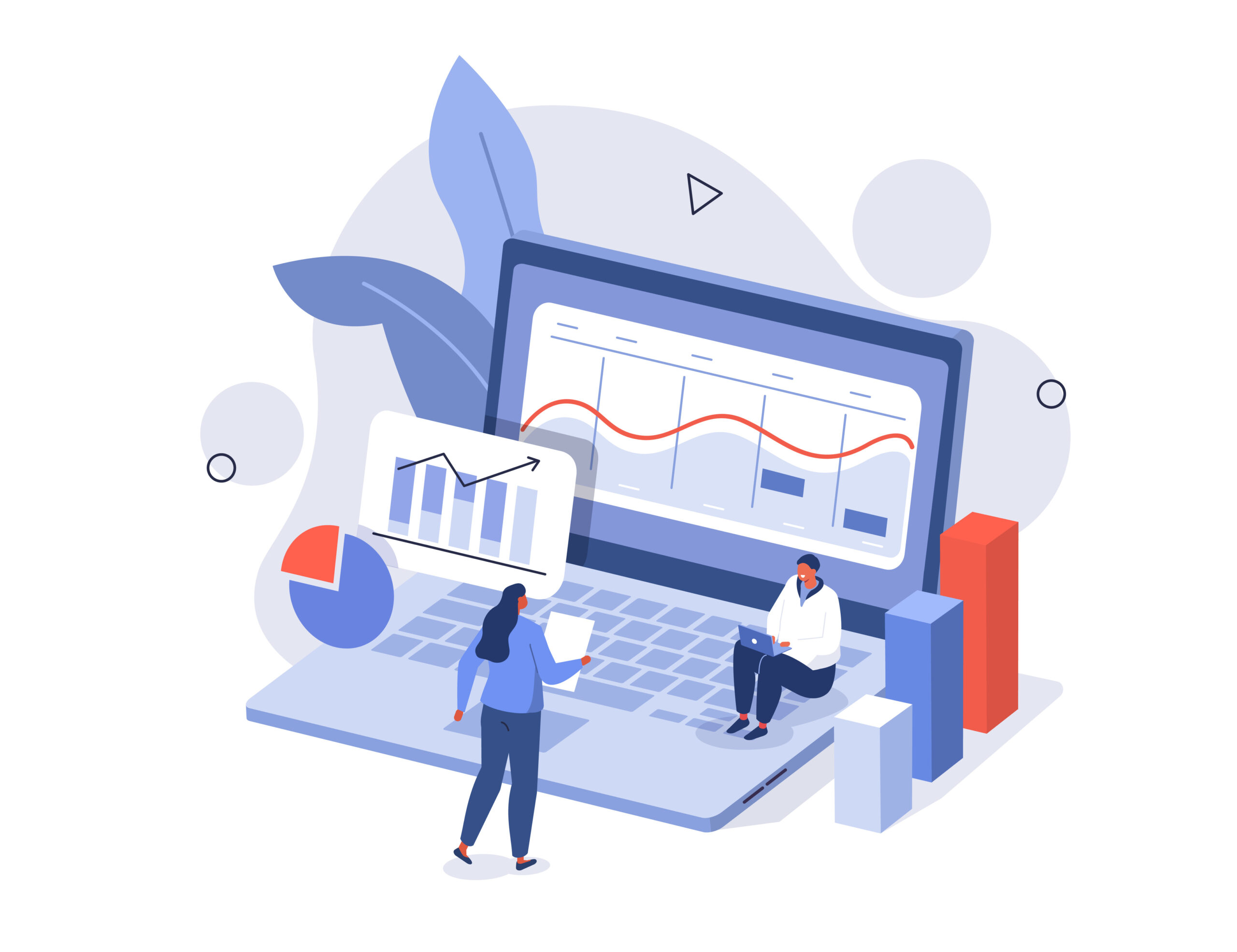 Characters analyzing stock market data and planning investment strategy. People examining financial graphs, charts and diagrams. Stock trading concept. Flat isometric vector illustration isolated.